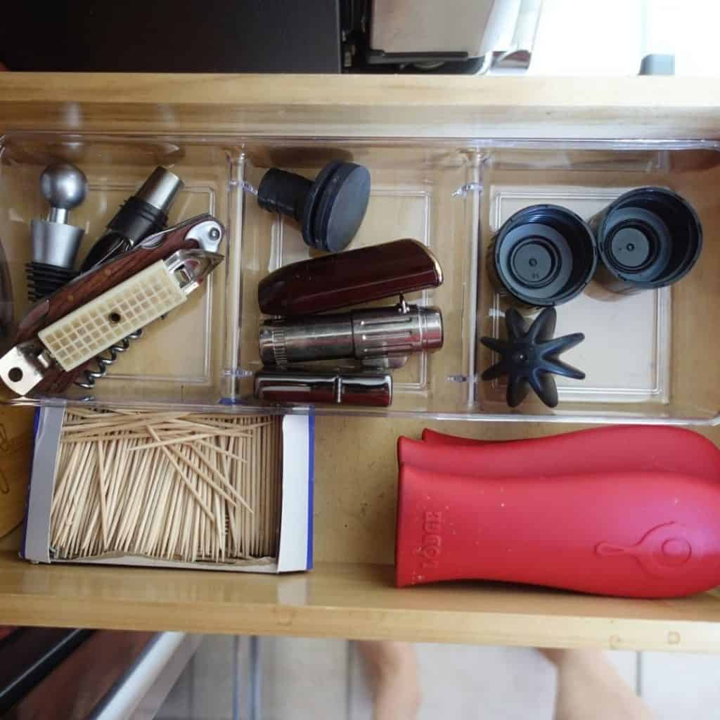 drawer container from the dollar store with little things organized inside